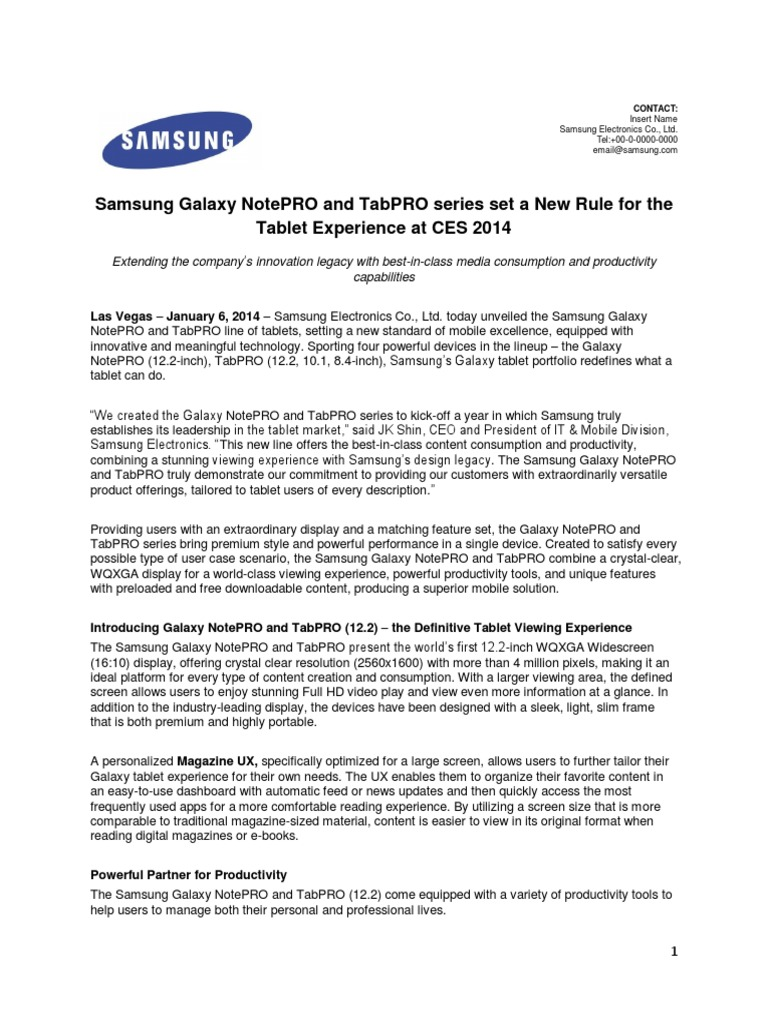 Samsung Press ReleaseGalaxy NotePRO And TabPro
