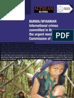 BURMA / MYANMAR International crimes committed in Burma