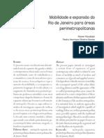 Mobilidade e expansão do Rio de Janeiro para áreas perimetropolitanas