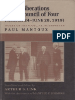 MANTOUX PAUL the Deliberations of the Council of Four 1919