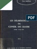 Mantoux Paul Les Deliberations Du Conceil Des Quatre Vol 2