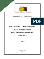 1 a - Loi de finances 2014 du 23 Oct 2013 (Projet de loi N°014-2013)
