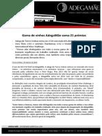 COMUNICADO DE IMPRENSA   ADEGAMÃE - PRÉMIOS