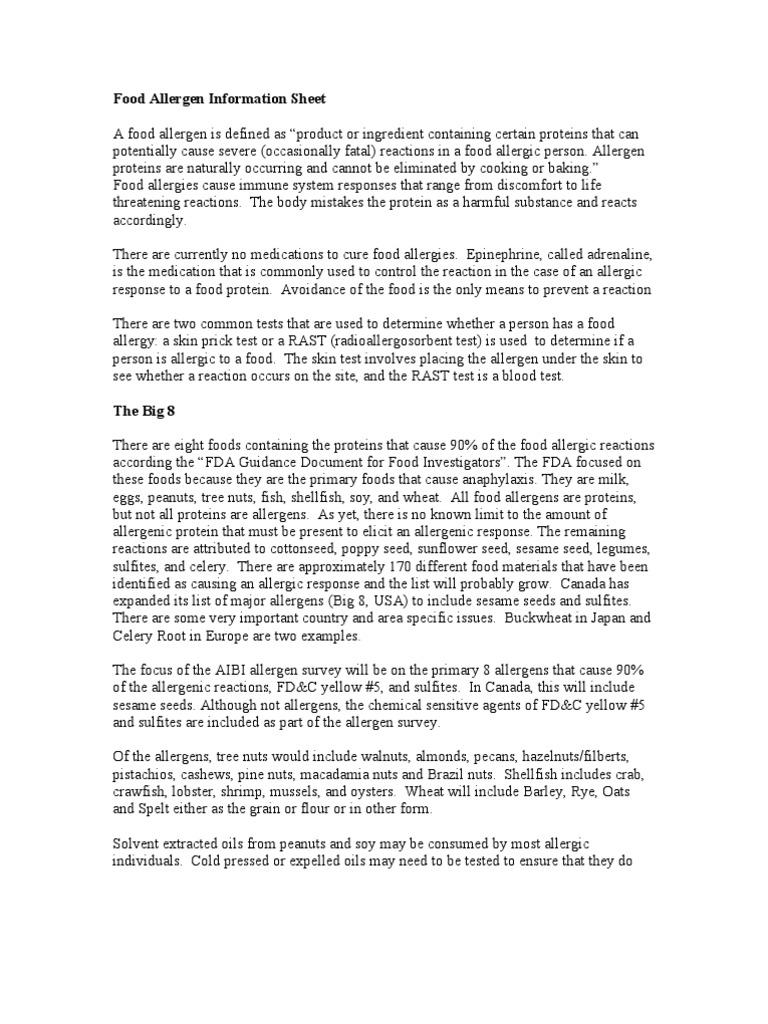 food allergen information sheet   food allergy   allergy