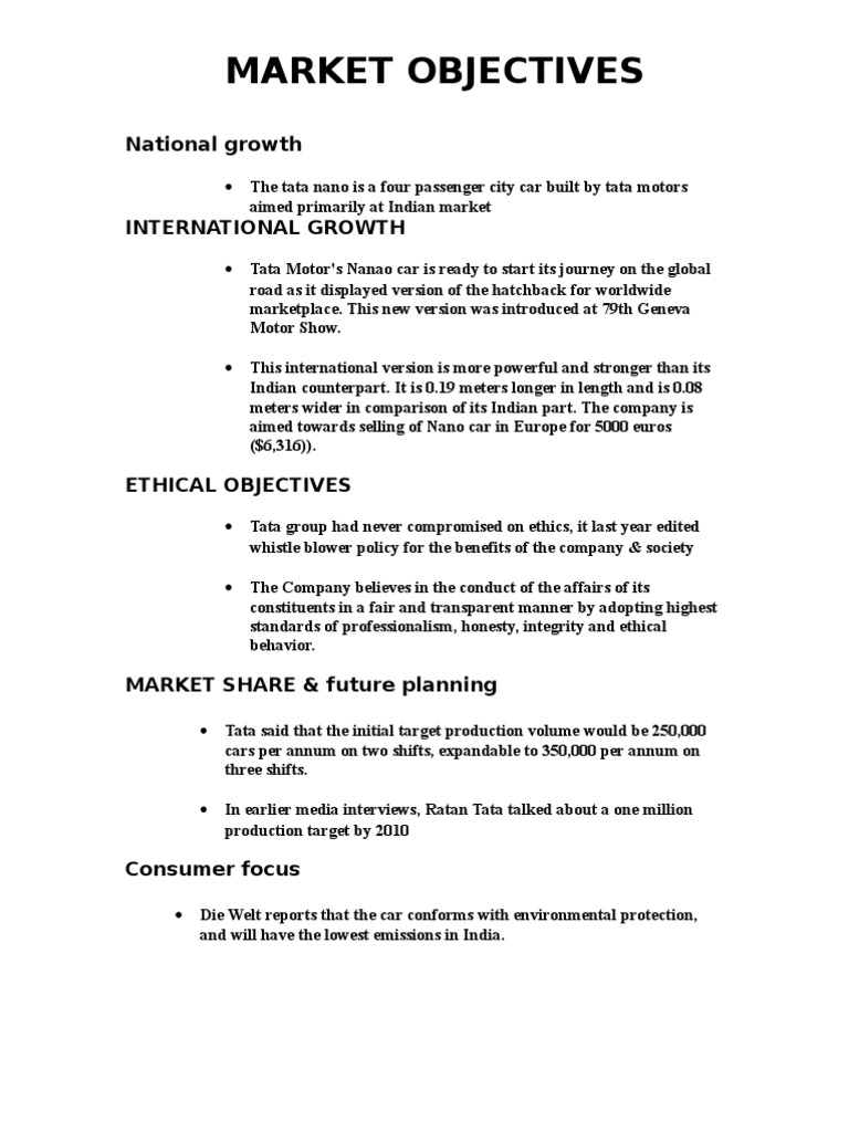 objectives of tata group