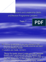 Topic 7 - The Management & Leadership Skills