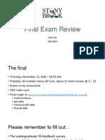 SBU CHE 321 Final F13 Review Slides