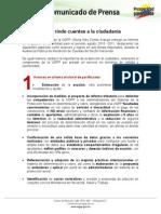 Comunicado de prensa Rendición de Cuentas 261112