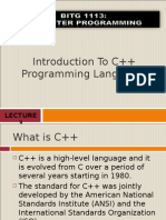 Introduction to C++ Programming