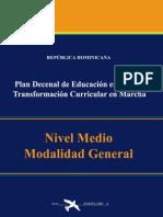 Plan Decenal de Educación. Currículo Educativo Nivel Medio RD