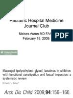 Pediatric Hospital Medicine Journal Club - Macrogol for treatment of constipation