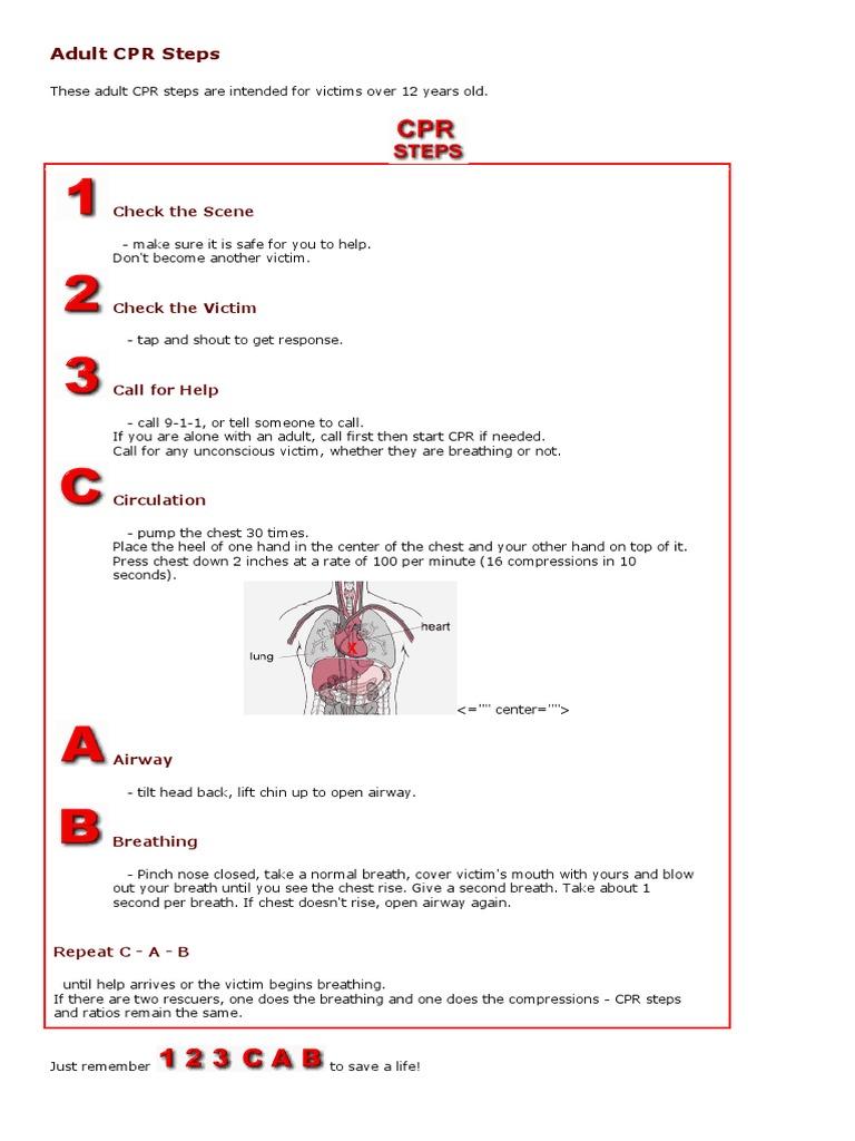 Adult Child Infant Cpr Steps Cardiopulmonary Resuscitation Breathing