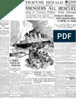 Titanic Passengers Rescued Newspaper Headline