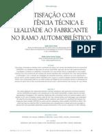 SATISFAÇÃO COM ASSISTÊNCIA TÉCNICA E LEALDADE AO FABRICANTE NO RAMO AUTOMOBILÍSTICO