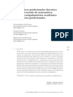 Di Franco, Gentile y Di Franco (2013). Las prácticas profesionales docentes en el profesorado de matemática, entre el acompañamiento y las tutorías profesionales