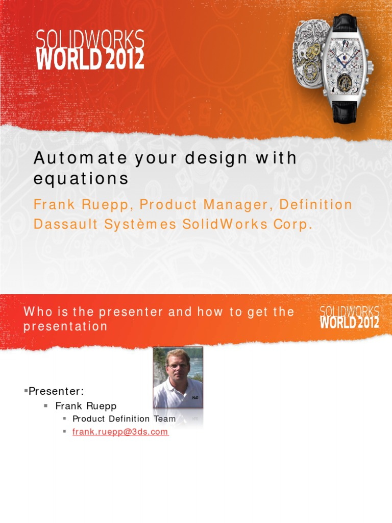 Automate Your Design With Equations: Frank Ruepp, Product