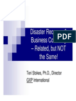 Disaster Recovery&Business Continuity Related but NOT the Same Teri Stokes PhD