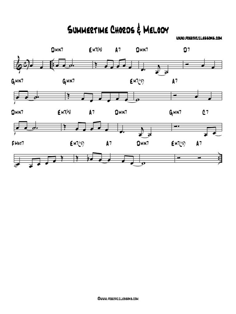 Summertime Chord Chart   PDF