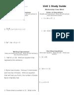 6th Grade Unit 1 Study Guide