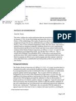 Foster Farms Suspension Notice