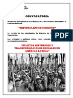 Convocatoria Revista Historia en Movimiento N° 3