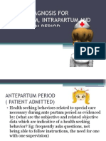 Nursing Diagnosis for Ante Part Um, um and Post