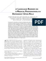 IMPACT OF LANGUAGE BARRIER ON ACUTECAREMEDICAL PROFESSIONALS IS DEPENDENT UPON ROLE