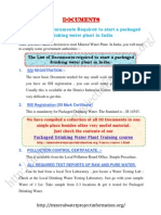 The List of Documents Required to Start a Packaged Drinking Water Plant in India.