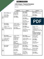 Student Exam Schedule January 2014