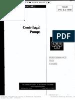 Centrifugal Pumps-Performance Test Code ASME