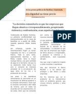 Boletín 10 de enero de 2014, Nuestra dignidad no tiene precio