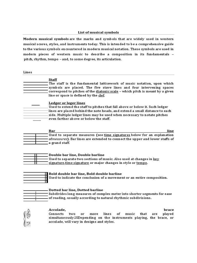 List Of Musical Symbols Clef Pitch Music