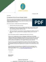 Parent Govs Appointmnet Letter 15.9.09