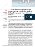 Hierarchical silicon nanowires-carbon textiles matrix as a binder-free anode for high-performance advanced lithium-ion batteries