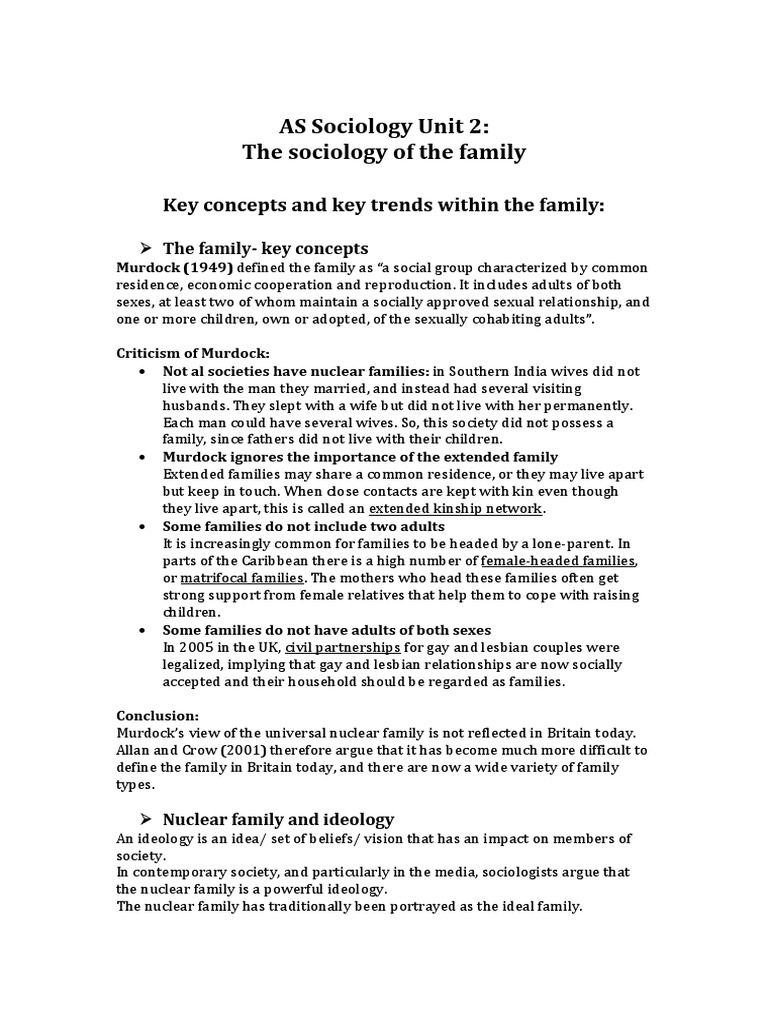 the family definition sociology
