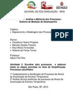 Análise e Melhoria dos Processos  Orgão Publico