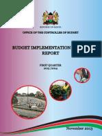 Kenya Controller of Budget Implementation Report First Quarter 2014