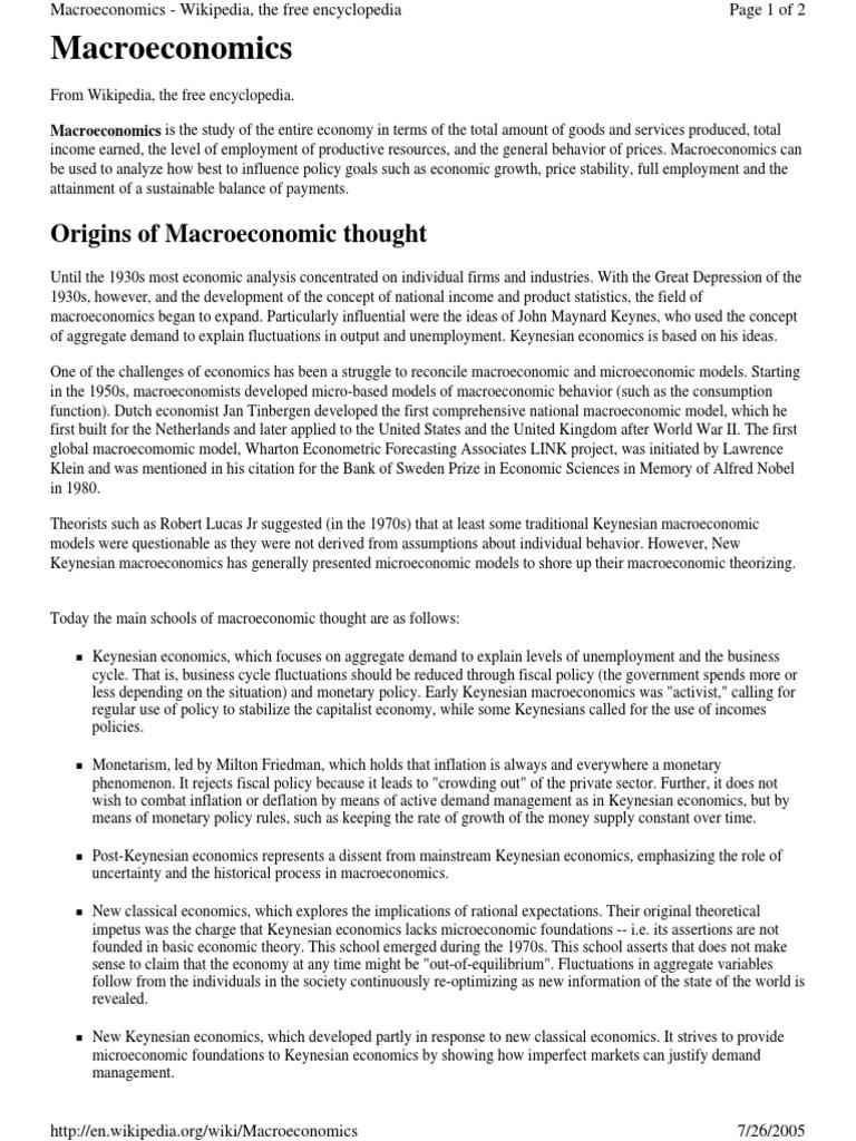 limitations of macroeconomics wiki