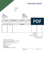 Purchase Order format sample