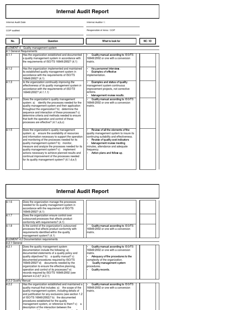 Audit Check List All Elements ISO TS 16949 | Quality Management System |  Audit