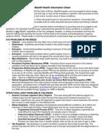 mastiff health information sheet revised - august 2009