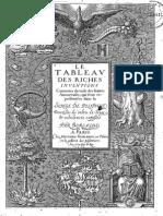 Tableau Des Riches Inventions Couvertes Dans Le Songe de Poliphile... Par Beroalde de Verville 1657