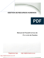 GESTIÓN DE RECURSOS HUMANOS, Manual de Procedimientos de Provisión de Puestos