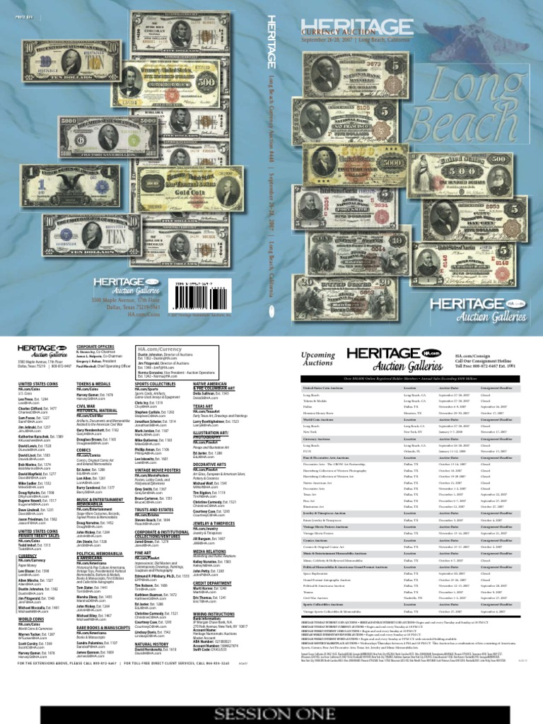 Heritage Currency Auction, September 26-28, 2007 (1) | Banknote ...