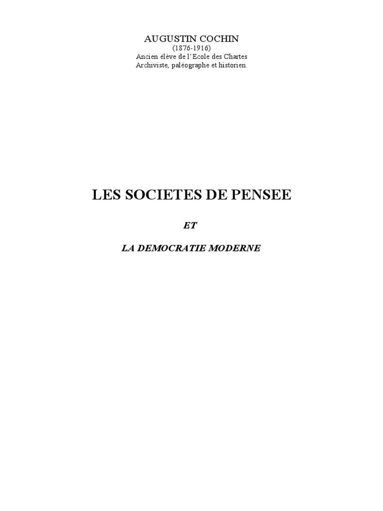 Les Sociétés De Pensée Et La Démocratie Moderne Augustin