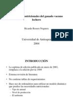 Exigencias Nutricionales Del Ganado Vacuno Lechero