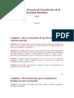 Proyecto de Constitucion de La Sociedad Patriotica 1813