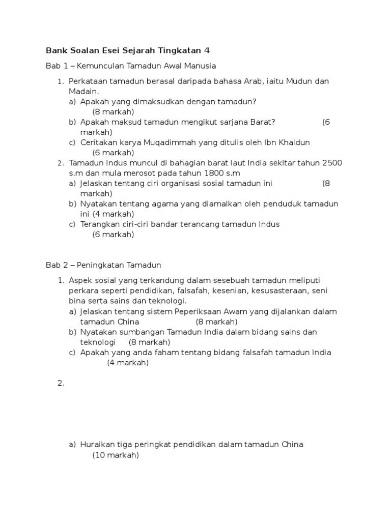 Soalan Esei Sejarah Tingkatan 2 Terengganu V