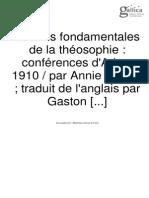 lois fondamentales de la théosophie