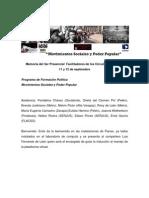 Memoria Presencial Facilitadores Programa Formacion Politica de La KAT Septiembre